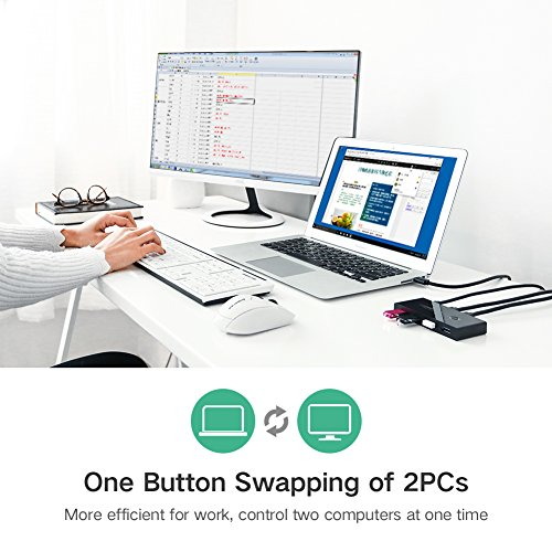 UGREEN USB 3.0 Sharing Switch Selector 4 Port 2 Computers Peripheral Switcher Adapter Hub for PC, Printer, Scanner, Mouse, Keyboard with One Button Swapping and 2 Pack USB Male Cable