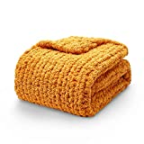 YnM Chunky Knit Blanket Throw, 100% Hand Made from Supremely Soft Chenille Chunky Yarn, Stylish & Cosy Throw Blanket for You or Your Home, Updated Version (Sunflower Yellow, 50''x60'')