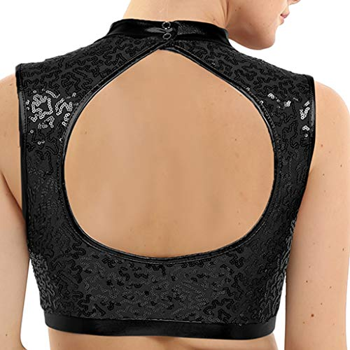 YiZYiF - Sujetador Deportivo para Mujer y niña, Cuello Alto, para Entrenamiento, Verano, Correr, Yoga, Crop Tops - Negro - Medium