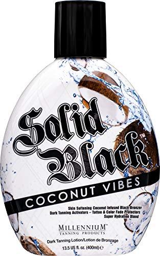 Millennium Tanning Solid Black COCONUT VIBES Infused Black Bronzer Dark Tanning Activators – Tattoo & Color Fade Protectors Super Hydration Blend Indoor/Outdoor Tanning Lotion 13.5 fl oz