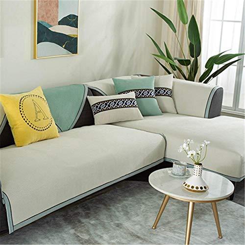 Cxypeng Couch Coat, la Funda de sofá Impermeable,Cojín de sofá de Pana Espesa de Invierno,Toalla de Felpa para Sala de Estar-Beige_90 * 210cm,Cubre Sofa Acolchado Reversible
