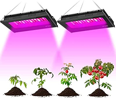 Olafus 2 Pack 300W LED Grow Light, Full Spectrum Grow Lamp for Indoor Plants, Waterproof 80pcs LEDs, Sunlike IR UV LED Plant Growing Lighting for Hydroponic Veg Fruits Flower Seeding Blooming Fruiting