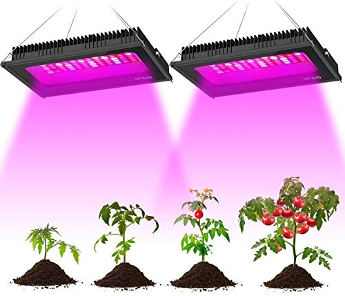 Olafus 2 Pack 300W LED Grow Light, Full Spectrum Grow Lamp for Indoor Plants, Waterproof 72pcs LEDs, Sun LED Plant Growing Lighting for Hydroponic Veg Fruits Flower Seeding Blooming Fruiting