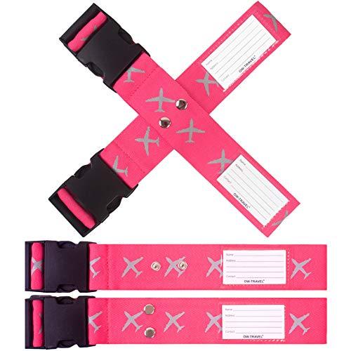 Kofferband Gurt Kreuz SCHWERLAST PERSONALISIERTER KOFFERGURT Kreuz mit Adressschild: OW Travel Luggage Strap Koffer Gurte Gepäckgurt Koffer Gurt Koffer Band Farbig Koffergurte