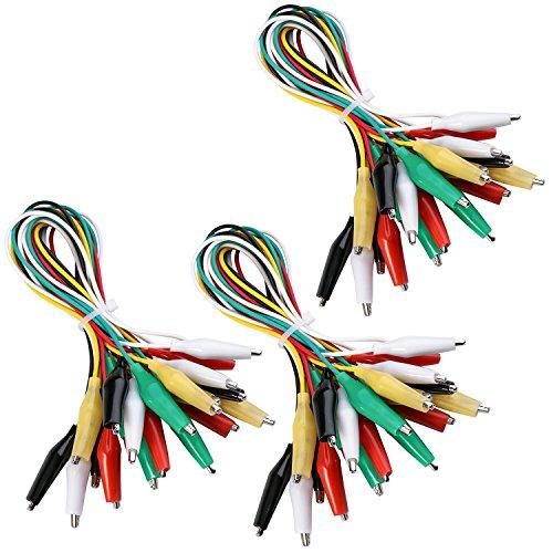 ELEGOO 30pcs Alligator Clip Wire Test Leads Set con Pinzas de Cocodrilo Cable de Puente de Doble Final de 50cm para Arduino