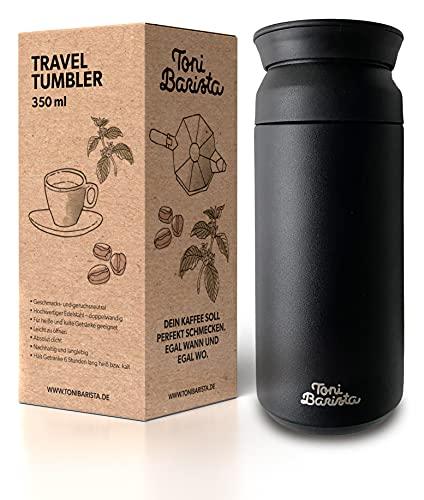 Toni Barista Travel Tumbler 350 ml | caliente y frío de acero inoxidable | taza de café para llevar | vaso térmico | vaso de viaje | taza de café y té para llevar | taza de coche