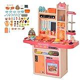 HOMCOM Kinderküche mit Zubehör, 65–teilige Spielküche Spielzeugküche für 3–6 Jahre Kunststoff, Rosa, 71 x 28,5 x 93,5 cm