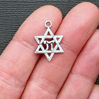 8 Jewish Star of David Chai Charms Antique Silver Tone - Jewelry Making Supply by Charm Crazy