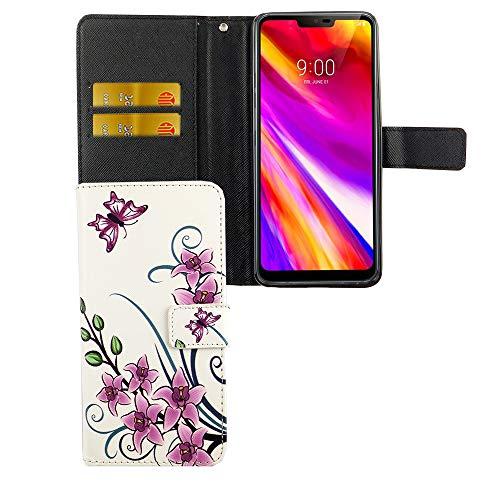 König Design Handyhülle Kompatibel mit LG G7 Handytasche Schutzhülle Tasche Flip Hülle mit Kreditkartenfächern - Lotusblume Pink Weiß