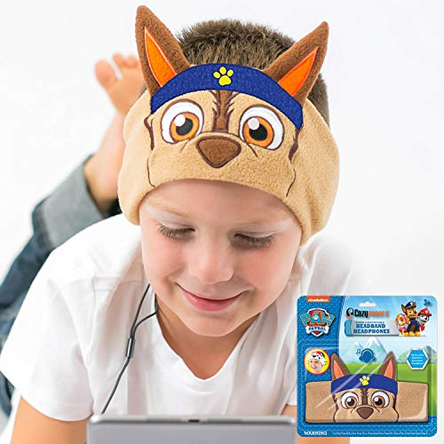 Paw Patrol Kids Headphones by CozyPhones - Volume Limited with Thin Speakers & Super Comfortable Soft Headband - Perfect Toddlers & Children's Earphones for School, Home & Travel – Chase