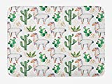 Ambesonne Cactus Bath Mat, Hot South Desert Plant Cacti Pattern Camel Animal Modern Colored Image Print, Plush Bathroom Decor Mat with Non Slip Backing, 29.5
