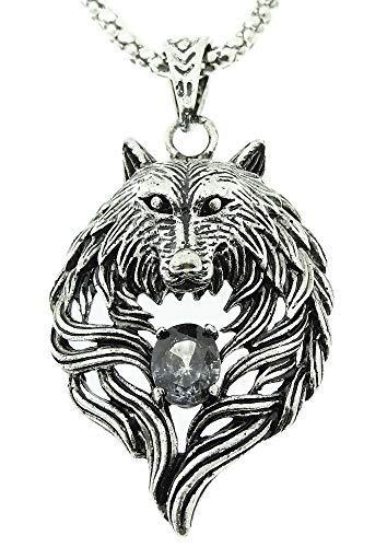 Inception Pro Infinite Collar para hombre y mujer – Piedra – Cabeza – Negro – Lobo – Grande – Escandinavia – Color plata – Navidad – Vikinga