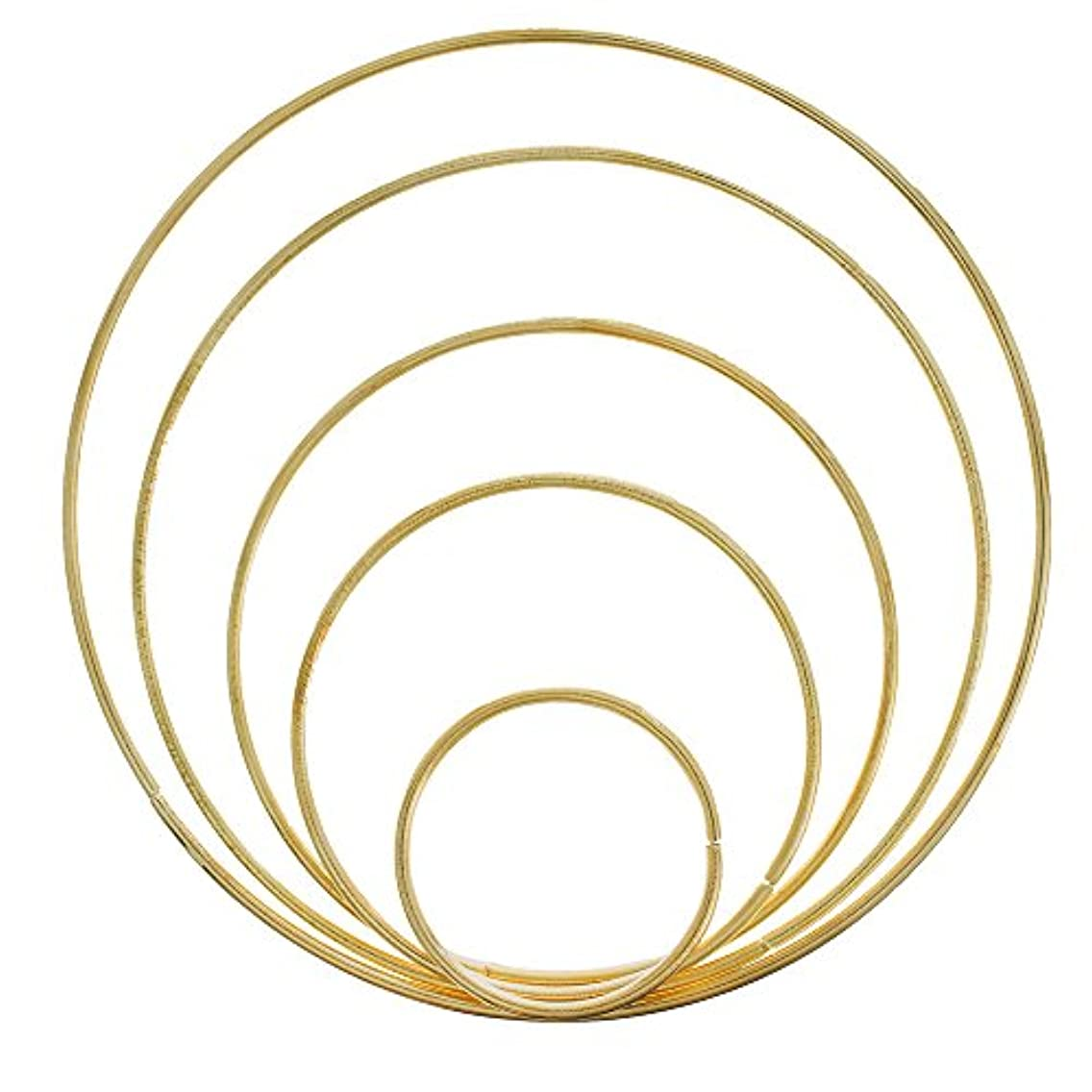 PARACORD PLANET Metal Ring Hoops – Macramé Rings for Dreamcatchers and Other Crafts – 5 Pieces Gold, 5 Inch