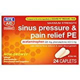 Rite Aid Sinus Pressure and Pain Reliever PE, Non-Drowsy - 24 Tablets | Sinus Relief | Pain Relief