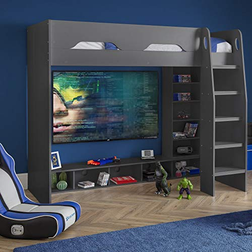 Galaxy Grey Wooden Gaming High Sleeper Frame