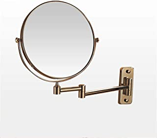 Extendable Bathroom Wall Mount Makeup Mirror,Two-Sided HD with 3X Magnification Vanity Mirror,Gold,8inch