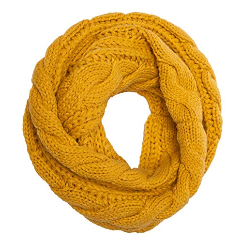 Womens Soft Thick Ribbed Knit Winter Infinity Circle Loop Scarf (Yellow)