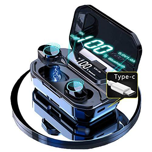 WANNA.U V5.0 Auriculares estéreo Bluetooth Inalámbrico IPX7 Auriculares táctiles a Prueba de Agua Batería de 3300 mAh Pantalla LED Caja de Carga