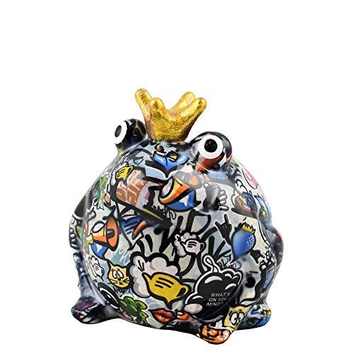 Pomme Pidou | Spardose Keramik | Frosch Freddy | Medium | Bunt | Keramik Spardose mit Münzschlitz und sehr schönes Dekorationsstück | inkl. GRATIS Geschenkbox
