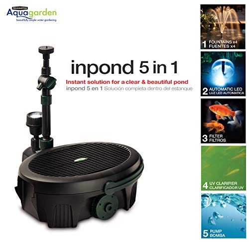 Pennington Aquagarden, Inpond 5 in 1 Pond & Water Pump, Filter, UV Clarifier, LED Spotlight and Fountain, All in One solution for a Clean, Clear, and Beautiful pond, for Ponds up to 300 Gallons
