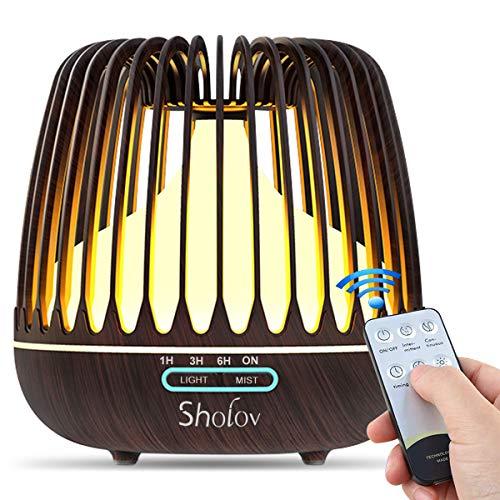 SHOLOV Diffusore Aromi,Umidificatore Ultrasuoni Aromaterapia di Venatura di Legno con Timer 7 Colori LED Auto Spegnimento per Ambienti Casa Ufficio Yoga (Venatura del legno chiaro)