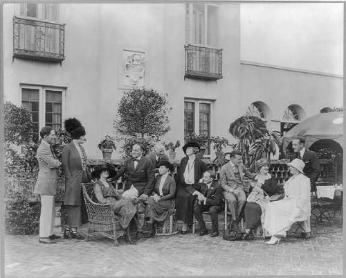 HistoricalFindings Photo: Greenwich,Garden,Outdoors,Groups,John Baxter Home,Patio,Connecticut,CT,1920
