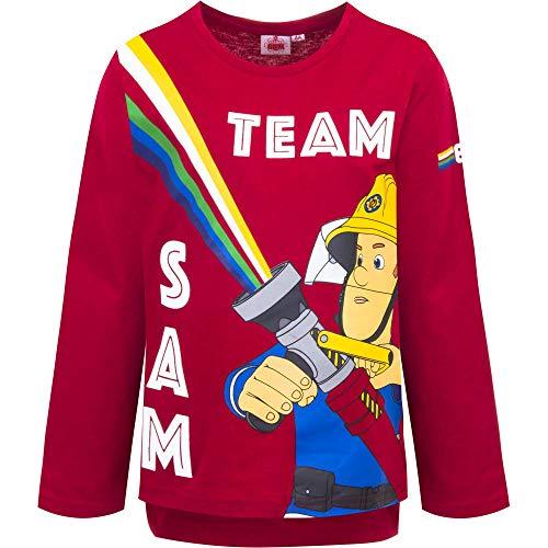 Feuerwehrmann Sam Jungen Langarmshirt | Kinder Langarm Pullover 116 / rot