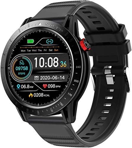 Voigoo Smart Watch für Herren,(2021 neu,48mm) Touch Farbdisplay Fitness Armbanduhr mit Pulsuhr,Blutdruckmessung, 3ATM wasserdichte Sportuhr mit Schrittzähler, Stoppuhr für iOS Android (schwarz)
