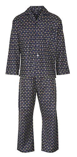 Herren Pyjama-Set, gebürstete Baumwolle, Nachtwäsche, Flanell-Pyjamas S M L XL XXL 3XL und jetzt erhältlich in 4XL und 5XL Gr. S, blau