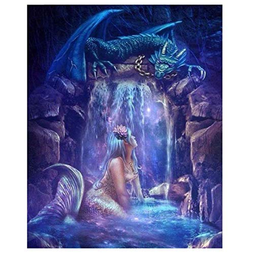 artaslf Diamond Painting Mermaid Dragon DIY 5D Full Square Diamond Embroidery Mosaic Painting by Numbers Rhinestones Decoration- 50x60cm unframed
