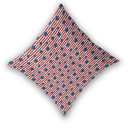 sashimii 4th of July Square Cushion Case, Flag of The Greatest Nation in The World Stars and Stripes Old Glory Soft and Cozy, Wrinkle Resistant for Couch/Bed/Sofa, W18 xL18 Royal Blue Ruby White