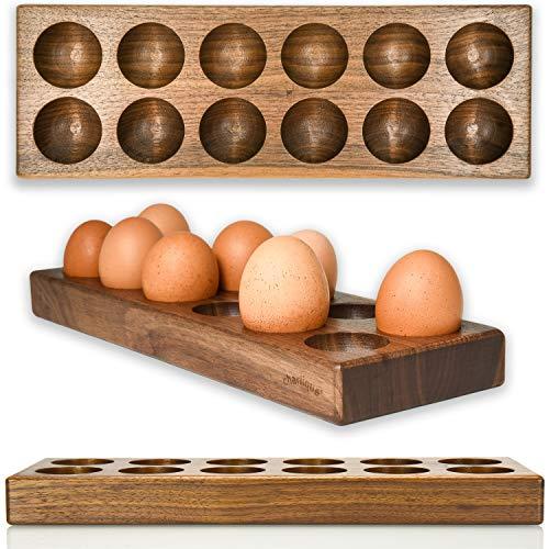 charlique® Eierbehälter – handgemachte Eierbox für 12 Eier – luxuriöse Eier Aufbewahrung - Dein genialer Eierhalter aus massivem Nussholz – Fast zu schade für den Kühlschrank