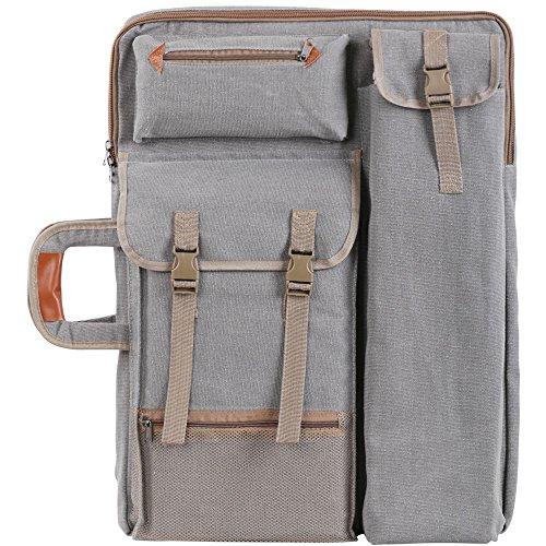 Mochila/cartera para portafolio de artista, Tourwin Canvas 4K, de lona, para tabla de dibujo y con varios bolsillos multiuso, para dibujar, hacer bocetos o pintar gris