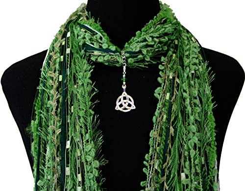 Celtic Knot Green Necklace Scarf ~ St Patrick's Day Accessory ~ Triquetra Trinity Knot ~ Quality Fibers ~ Detachable Pendant Option
