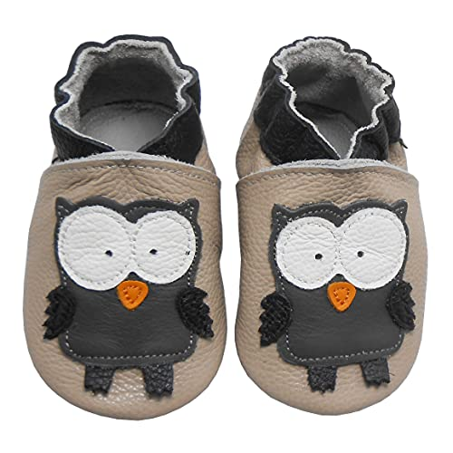 Bemesu Baby Krabbelschuhe Lauflernschuhe Lederpuschen Kinder Hausschuhe aus weichem Leder für Mädchen und Jungen Beige Eule (M, EU 20-21)