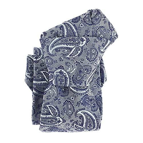 Segni et Disegni. Cravate classique. DENVER, Soie. Bleu, Paisley. Fabriqué en Italie.