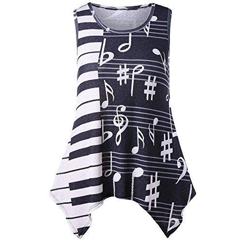 MRULIC Frauen Bluse Klavier Musik Streifenmodelle Tops Beiläufige Lose Kurzarm-T-Shirt(X-schwarz,XL)