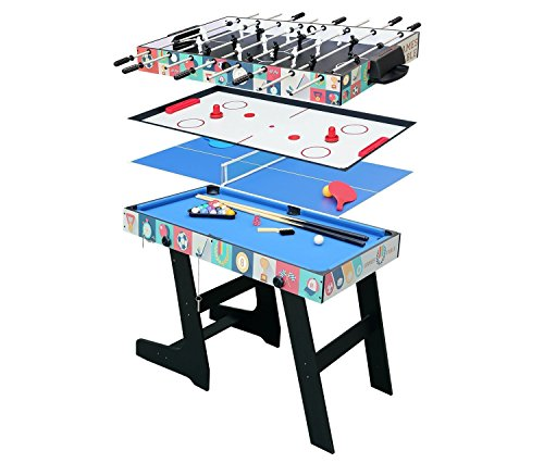 hj Table Pliable Multi Jeux 4 en 1 Pliante 121cm-Billard/Babyfoot/Hockey/Tennis de Table