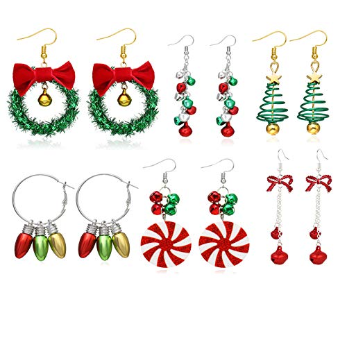 4/6/9/13 pairs Christmas Earrings for Women,Christmas Stud Earrings,Christmas Trees, Bells,Snowflakes Earrings for Girls Thanksgiving Xmas Holiday Jewelry