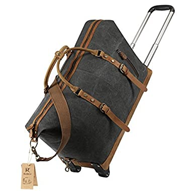 Kattee Luggage Rolling Duffel Bag Leather Trim Canvas Wheeled Carry-on Travel Bag 50L (Black)