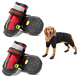 MIEMIE Dog Boots, Waterproof Dog Shoes, Non Slip Durable Outdoor Pet Dog Booties with Reflective Strips for Small Medium and Large Dogs Red 4PCS Size 7