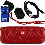 JBL Speaker Flip 5 Wireless Bluetooth Waterproof Portable Speaker (Red) + Matching Wrist Strap + USB Charging Cable & AC Wall Adapter + HeroFiber Ultra Gentle Cleaning Cloth – for JBL Speaker