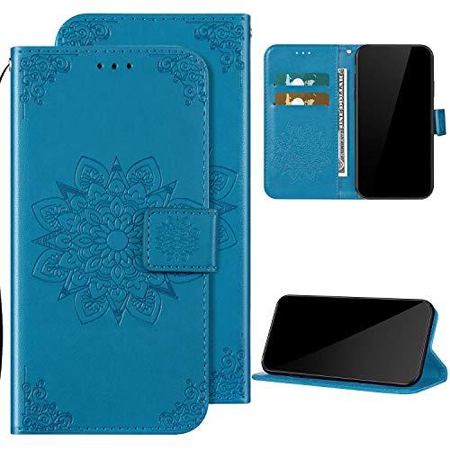 Kompatibel mit Xiaomi Redmi 7 Hülle Ledertasche Klapphülle Brieftasche Schutzhülle,QPOLLY Blumen Muster PU Leder Handytasche mit Kartensteckplatz Geldbörse Flip Case Handyhülle,Blau
