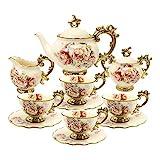 fanquare 15 Piezas Juegos de Té de Porcelana Inglesa, Vintage Juego de Café de Flores Rosas, Servicio de Té de Boda