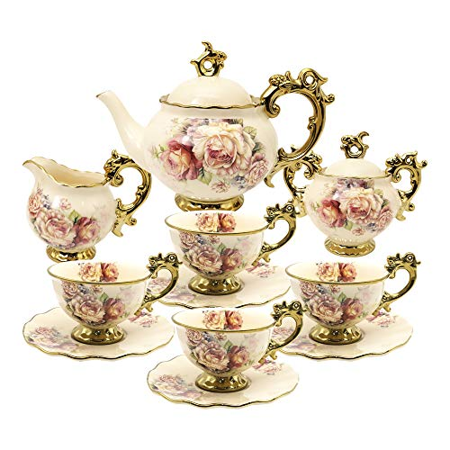 fanquare 15 Pieces British Porcelain Tea Sets,Flower Vintage China Coffee Set,Wedding Tea Service for Adult