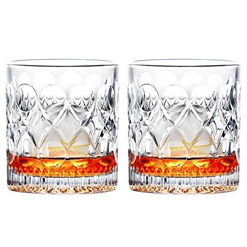 Vaso De Whisky Juego De Vasos De Whisky De Cristal De 2 10 Oz Vasos De Whisky De Fondo Grueso Vaso De Vidrio De Rocas Antiguas para Whisky Escocés Home Bar Regalos De Whisky para Hombres