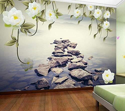 3D vliesbehang foto vlies premium fotobehang natuurlandschap bloem & stenen muur papel wandafbeelding voor bank TV achtergrond 3d fotobehang woonkamer 430*300 430 x 300.