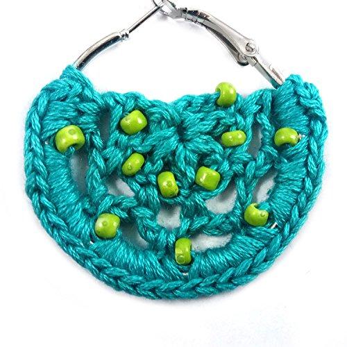 endientes de ganchillo para mujer o niña. Pendientes redondos grandes con cuentas. Hecho a mano. Joyería de crochet hecha a mano. Pendientes de crochet turquesa