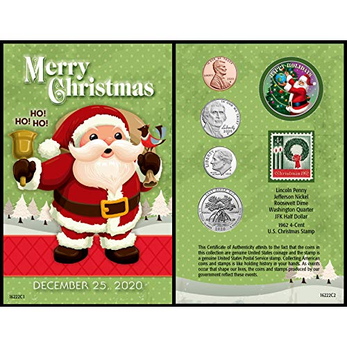 American Coin Treasures Santa Coin Year to Remember 2020 Christmas Card | Genuine United States JFK Colorized Half Dollar | First Christmas Stamp Ornament