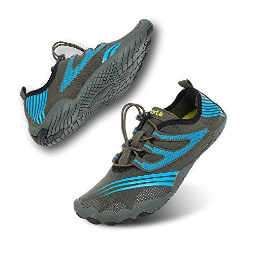 Zapatillas de Running Trekking Agua Hombre Descalzo Escarpines Zapatos de Deportivas Mujer Verano Calzado de Playa Buceo Snorkel Surf Cordones Duradera C-Verde EU46
